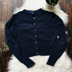 Brooks Brothers Sweaters - BROOKS BROTHERS Navy Woven Knit Cardigan Sweater M